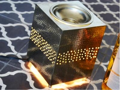 """""""Brûle parfum électrique maillechort"""" - Elektrische Duftlampe aus gehämmertem Metall"""